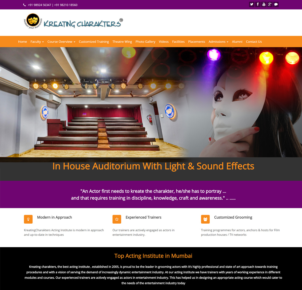 Website Design For Acting School In Mumbai